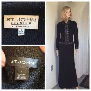St. John evening embellished black jacket/skirt 2